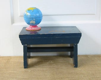 Vintage Wood Stool, Navy Blue Stool, Blue Stool, Vintage Foot Stool, Blue Bench, Vintage Blue Stool, Primitive Stool, Rustic Stool