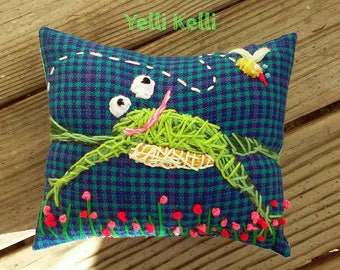 Cute Frog Hand Embroidered Pillow Ready to Ship YelliKelli