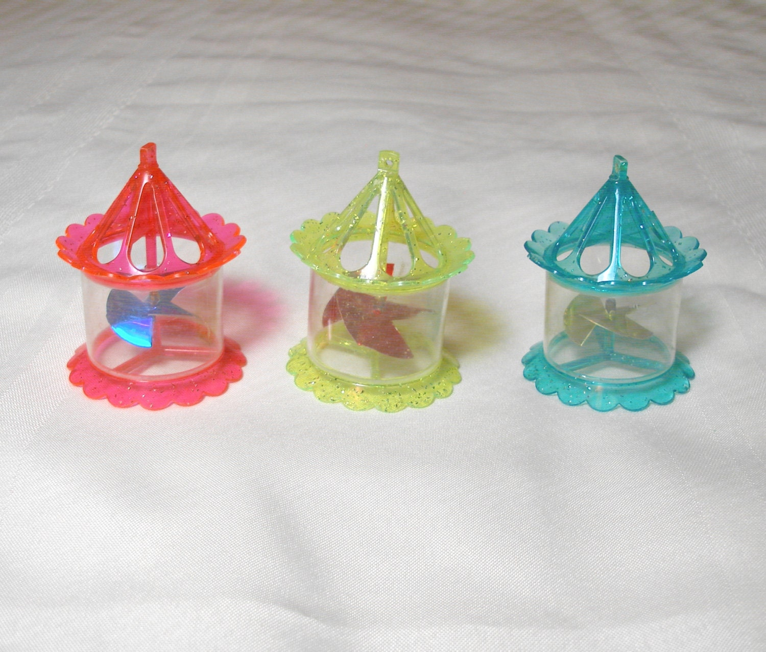 Twinkler Spinner Ornaments Set of 3 Vintage Plastic Birdcage