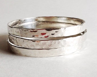 Hammered Sterling Silver Bangle Bracelet - Single Bangle Bracelet - 25th Anniversary Gift - Valentine's Day Gift for Her