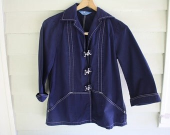 White Stag Navy Blue Women's Sailor Jacket with Silver Buckles