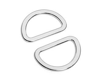 "50pcs - 1 1/4"" (32mm) Flat Zinc D-Ring - Nickel - (FDR-112) - Free Shipping"