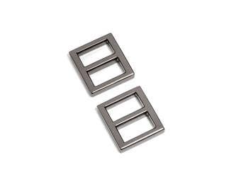 "10pcs - 5/8"" (16mm) Flat Diecast Slide Buckle - Black Nickel - (FBK-103) - Free Shipping"