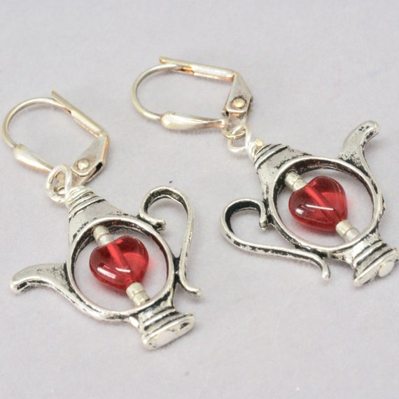 Red Heart Tea Lover's Earrings, Silver Tea Pot Earrings, Mini Teapot Earrings for a Hostess Gift for Her, Teacher Gift, Tea Party Thank you
