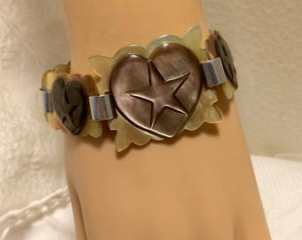 Vintage Carved Shell MOP Bracelet. Heart Links with 5 Point Stars Connected with Aluminum Links. Probably WWII Sailor Sweetheart Piece (D13)