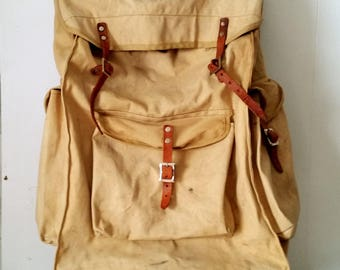 Vintage Tan Canvas Foldover Backpack with Sidepockets Made for Frame Made in Japan