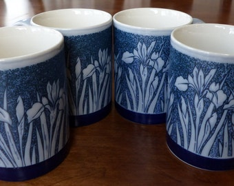 Vintage Otagiri Iris Mugs - Four Blue and White - Japan