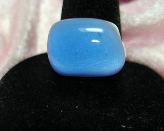 Periwinkle Handmade Fused Dichroic Glass Cab Ring - R151