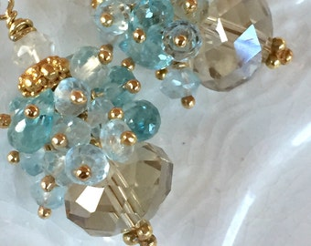 Champagne Citrine and Blue Topaz Earrings