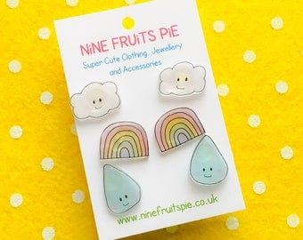 Kawaii April showers 3 pairs stud earrings in pastel - rainbow, cloud and raindrop