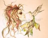 Hummingbird Girl Art, Woman Print, Hummingbird, Painting, Watercolor Print, Mystical Art, Wall Art, Home Decor, Friends, Majik Horse
