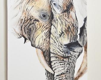Elephants Original Painting, gouache watercolor, large art on canvas, 16x20