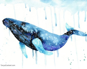Humpback Whale Spirit Animal ORIGINAL Watercolor 9X12