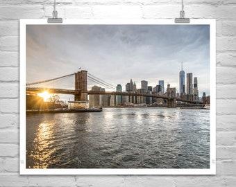 Brooklyn Bridge, Wall Picture, Janes Carousel, New York Photo, Manhattan Art, Art for Living Room, City Art, Urban Art, Black and White, NYC