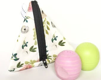 Triangle bag, lip balm bag, triangle coin purse, prism bag, roller ball bag, pyramid pouch, cute coin purse, gifts for her, gifts under 10