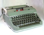 Vintage Working Olympia SM 3 Green Portable Manual Typewriter with Case
