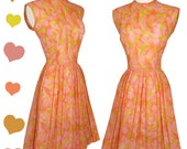Reserved  Vintage 50s 60s Day Dress // Peachy Orange Pink Yellow Pleated Day Dress S M Cotton Pleats Sleeveless Casual Spring Knee Length