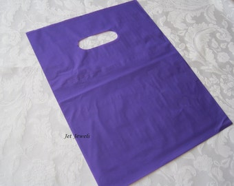 100 Plastic Bags, Purple Plastic Bags, Gift Bags, Merchandise Bags, Retail Bags, Party Favor Bags, Shopping Bags, Bags with Handles 9x12