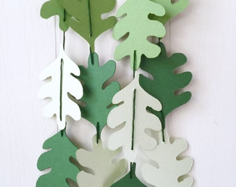 Leaf Garland / Leaf Bunting / Spring Decor / Photo Prop / Recycled Paper  / Earth Day / Leaf Decor