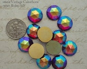 ON SALE Vintage Cabochons - 13 mm Facet Ruby AB -  6 West German Faceted Glass Stones