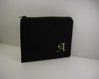 Black Personalized Makeup Bag, Gold or Silver Metallic Embroidery, Bridesmaid Gift, Monogrammed Zipper Pouch, Made to Order