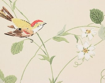 1970s Vintage Wallpaper Strawberry Vine Butterflies Birds on Cream by the Yard