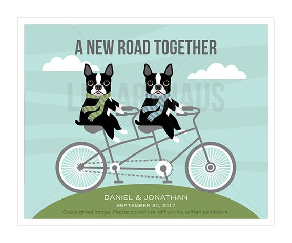 201P Gay Wedding Gift - A New Road Together Boston Terrier Wall Art - Custom Bike Print - Mr and Mr Gift - Gay Couple Gift - His and His