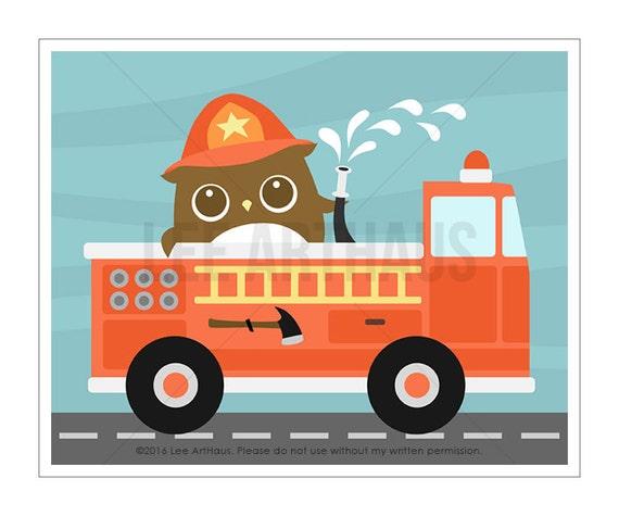 99A Baby Boy Nursery Print - Owl on Big Firetruck Wall Art - Fire Truck Print - Fire Engine Print - Woodland Owl Boy Wall Art - Fireman Art