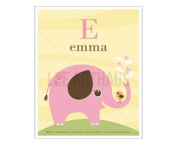 141P Elephant Print - Personalized Letter E Pink Elephant Wall Art - Elephant Drawing - Customized Baby Nursery Decor - Baby Girl Room Art