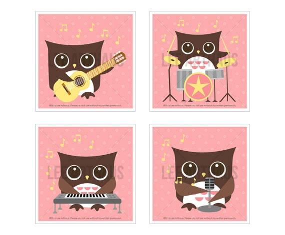 18S Owl Nursery Print - Pink Rock Band Owl Wall Art Set - Set of 4 - Woodland Owl Art - Music Wall Art - Guitar Print - Girl Nursery Decor