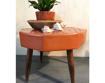 vintage ottoman - mid century vinyl upholstered foot stool - end table - plant stand with wooden legs