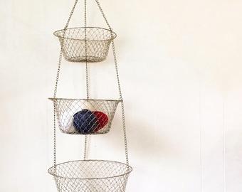 vintage wire hanging basket - fruit vegetable - brass kitchen food storage