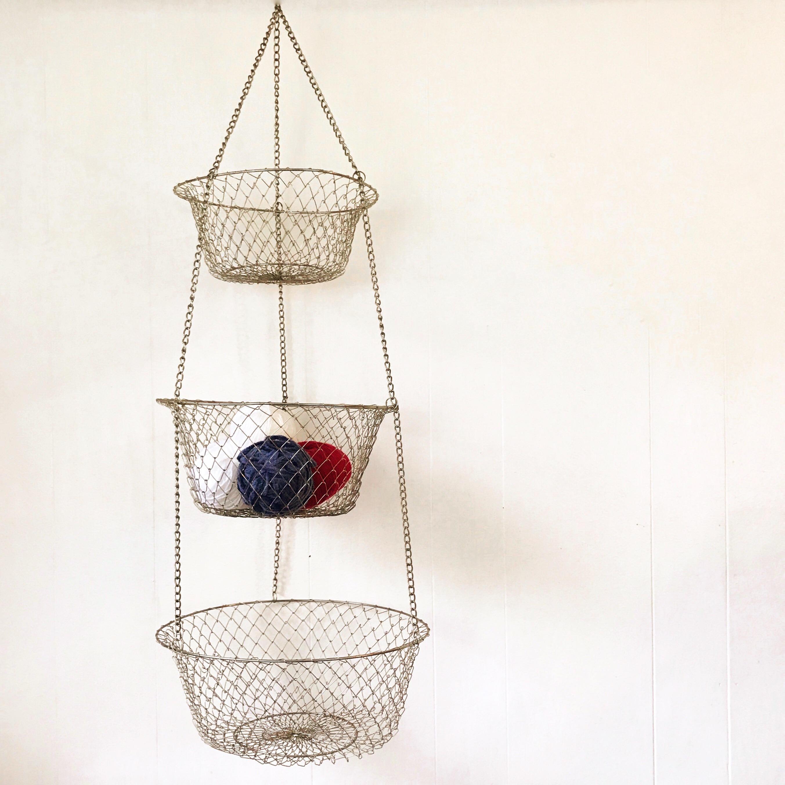 Vintage Wire Hanging Basket Fruit Vegetable Brass
