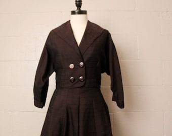 Vintage 1950's Brown Black Suit Skirt Jacket Set M