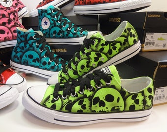 RokGear Skull design - Converse Skull shoes Unique hand panted skulls by RokGear Green lo top Oxfords