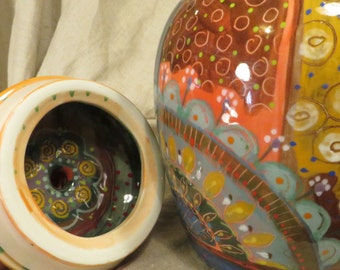 Cannister - Cookie Jar. Delightful Cheerful Ceramic , Lots Of Color By Pam Marwede