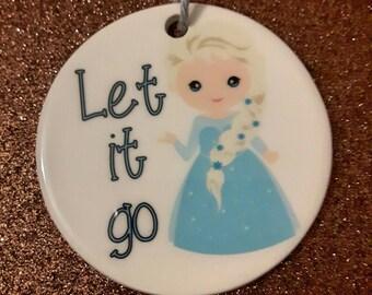 Frozen let it go ceramic Christmas ornament