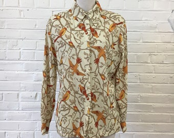 1970s Birds in Trees Print Shirt, size L
