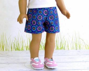 18 inch Doll Shorts, Purple Blue Flower Shorts, Mini Short Shorts