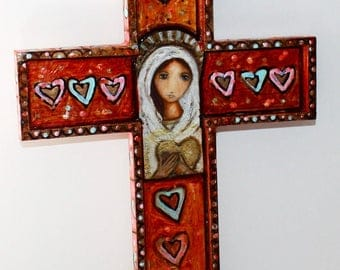 Blessed Mother -  Wall Cross Mixed Media Art by FLOR LARIOS