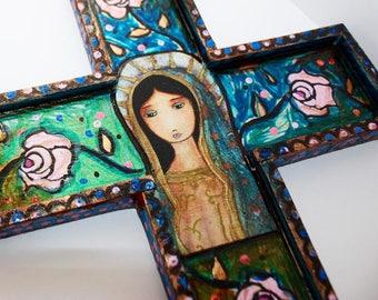 Virgen de Guadalupe -  Wall Cross Mixed Media Art by FLOR LARIOS