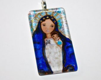 Our Lady of Charity -   Original Glass Tile Pendant  by FLOR LARIOS ART