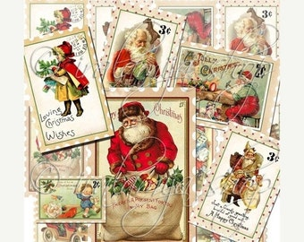 SALE CHRISTMAS POSTAGE STAMpS Collage Digital Images -printable download file-