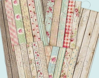 SALE SHABBY WOOD backgrounds Collage Digital Images -printable download file-