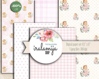 "SALE LITTLE BaBY GIRL Papers  8.5"" x 11"" backgrounds Collage Digital Images -printable download file- Baby Papers/Printable Baby Girl Papers"