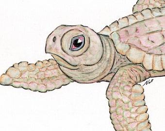 8x10 Young Sea Turtle Art Print, Printable Fish Art, Saltwater Sealife Poster, Printable Wall Art, Home Decor, Instant Digital Download
