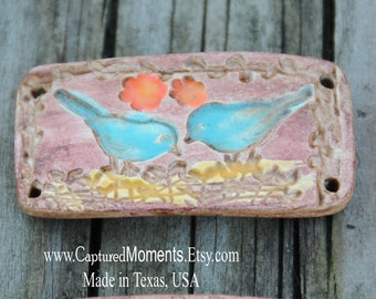 Handmade Pottery Cuff Bead with Birds and Nest