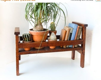 Sale Book Shelf,  Plant Stand, Vintage Oak Bookshelf, Plant Shelf, Vintage Plant Stand