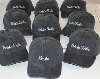 Bride Tribe Bachelorette Party Baseball Caps Custom Quote Hats by the Dozen
