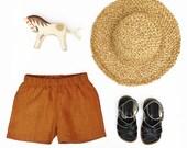 Rust stonewashed linen shorts
